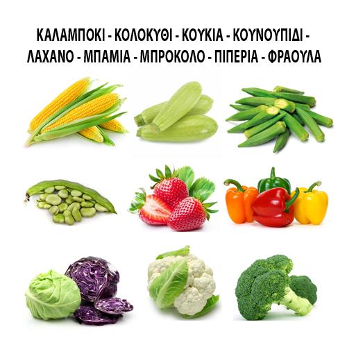 Καλαμπόκι - Κολοκύθα - Κουκιά - Κουνουπίδι - Λάχανο - Μπάμια - Μπρόκολο - Πιπεριά