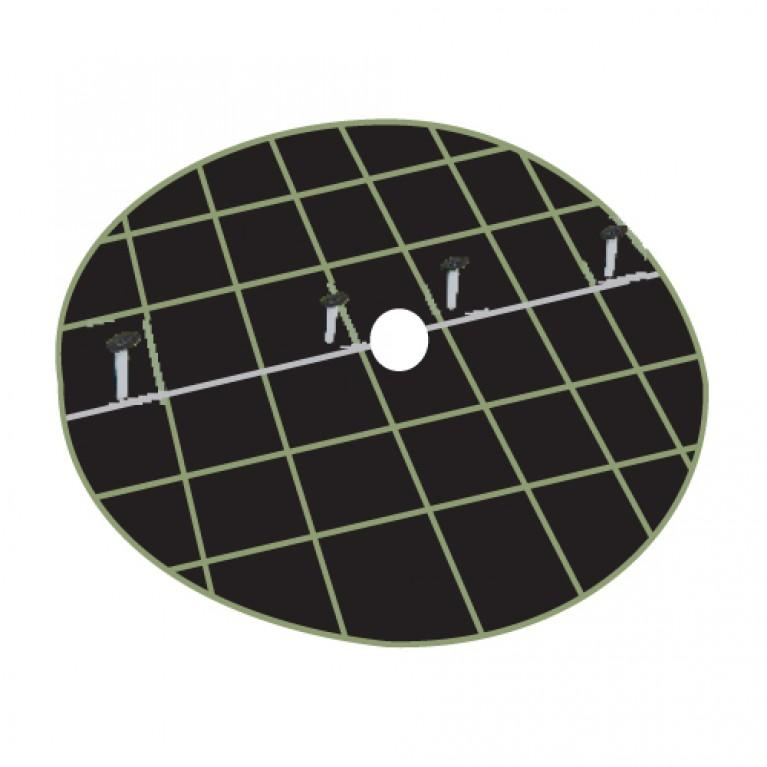 Ύφασμα εδαφοκάλυψης στρογγυλό 97cm διάμετρος, με 4 καρφιά στήριξης - χωρίς φερμουάρ - κωδικός: 90025